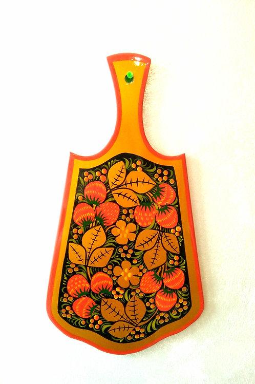 Planche à découper en bois peint Khokhloma