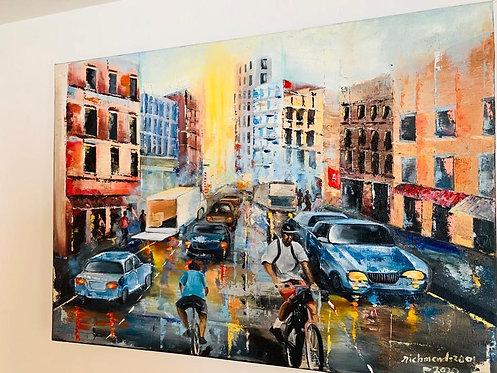 Cityscape - Original Oil Painting