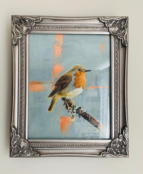 Robin - Framed Original Oil Painting on Canvas