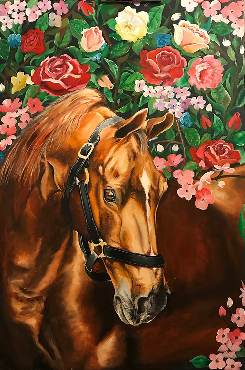Original Oil Painting - Horses and Fowers