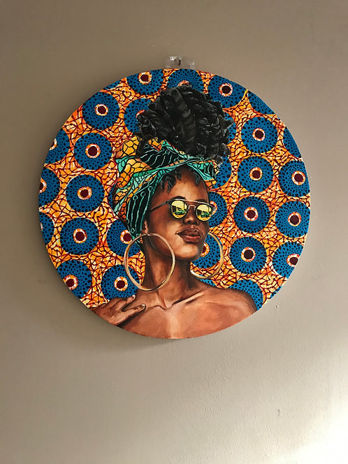 Original Oil Painting of a Portrait of an African woman