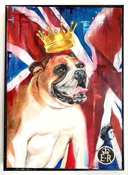 British bulldog - Original acrylic and oil pianting