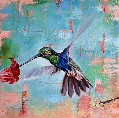 Original oil painting - Hummingbird