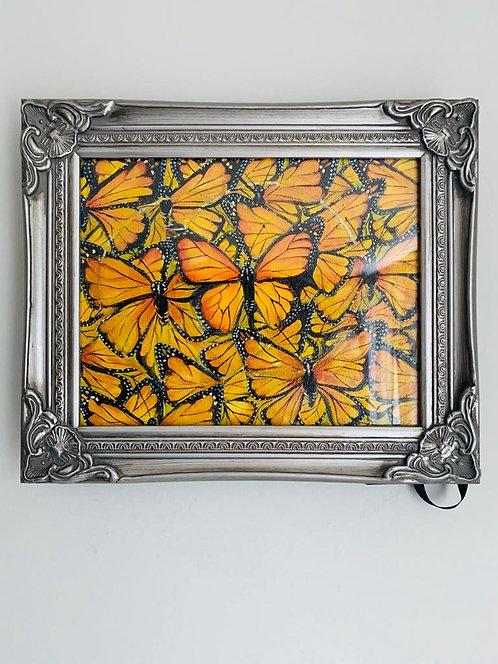 Framed Monarch Butterflies - Original Oil Painting