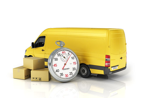 Cardboard package box with stopwatch and