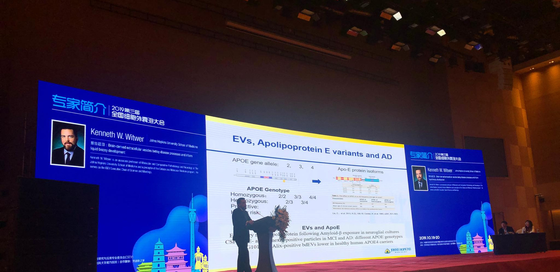 Dr Witwer had the tremendous honor to give a keynote at the third annual meeting of the Chinese Society for Extracellular Vesicles in Xi'an