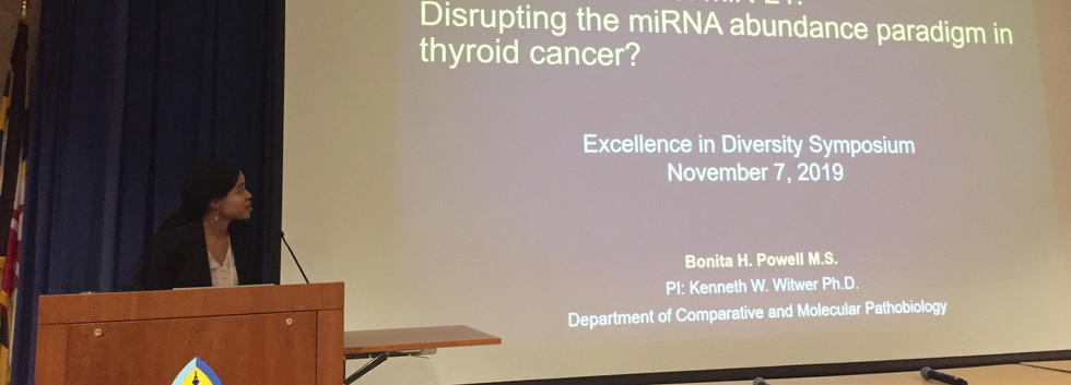 Bonita Powell speaking on miR-21 and the miRNA abundance paradigm, Excellence in Diversity at JHU November 7th