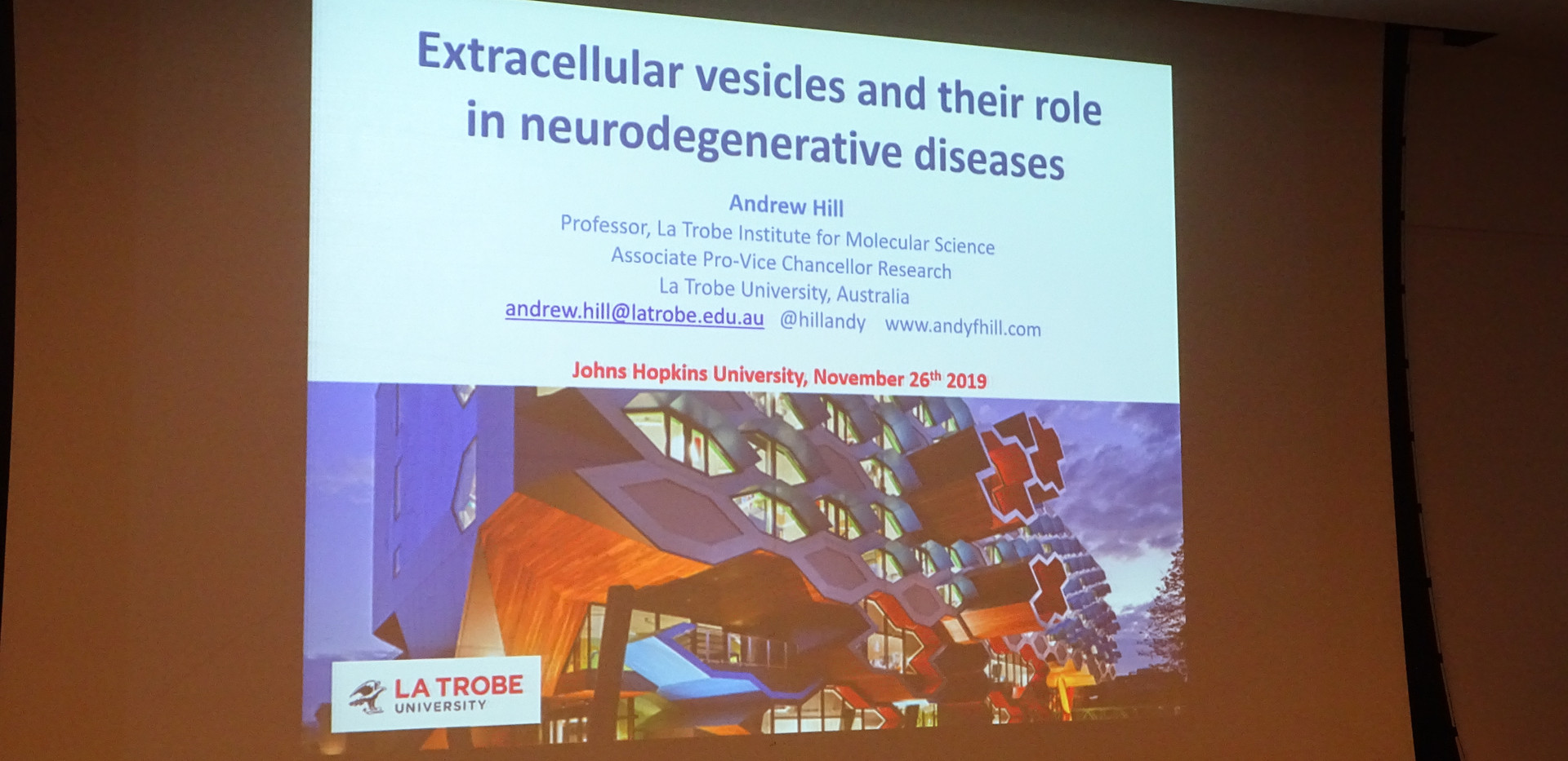 Dr Hill presenting his work on the EVs and their role in neurodegenerative diseases