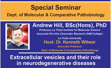 The ISEV president, Dr. Andrew Hill, will be giving a special seminar this week at JHU.