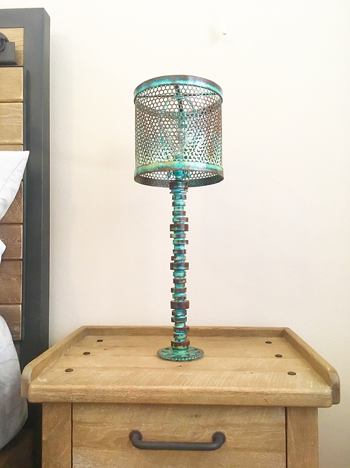 Teal and steel patina lamp