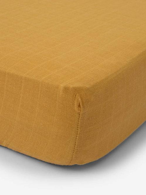 "Cotton Muslin Crib Sheet ""Mustard"""