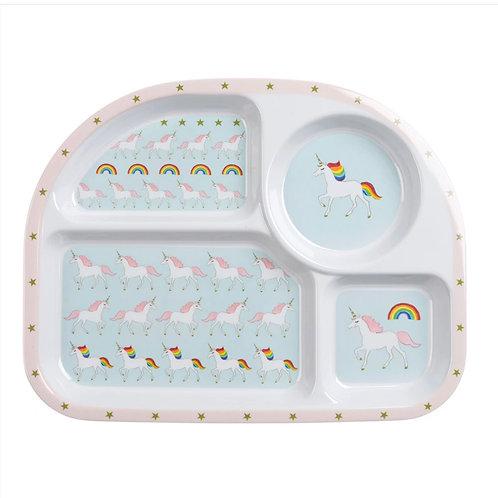 Unicorn Children's Melamine Divider Plate