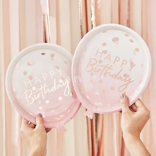 Rose Gold Balloon Shaped Birthday Paper Plates
