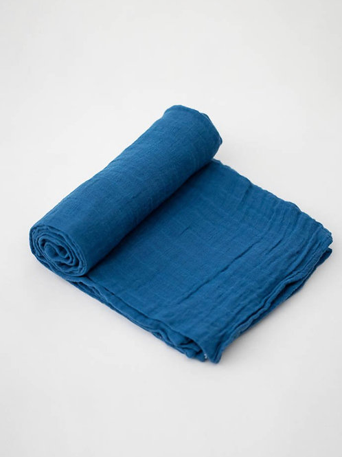 "Cotton Muslin Swaddle Blanket ""Lake"""