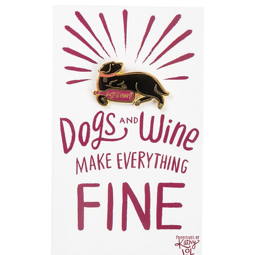 Dogs & Wine Enamel Pin