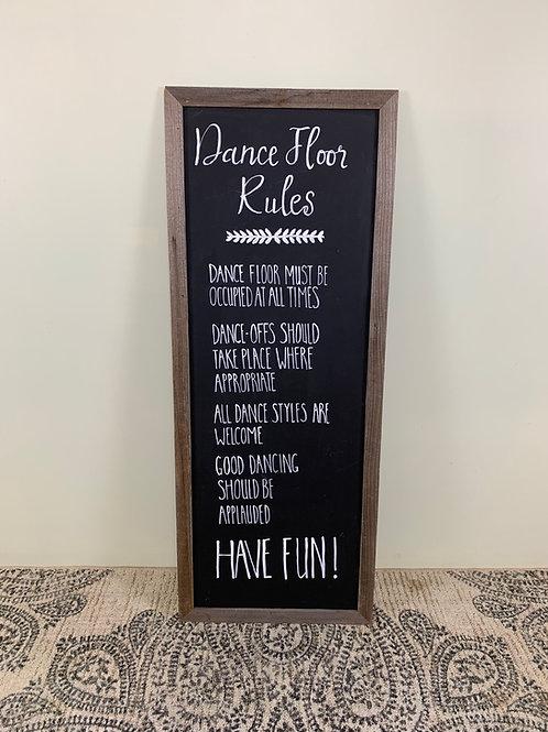 """""""Dance Floor Rules"""" Chalkboard"""
