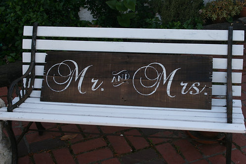 Lg. Mr. and Mrs. Wooden Sign