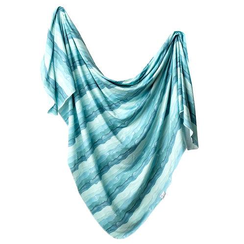 "Knit Swaddle Blanket ""Waves"""