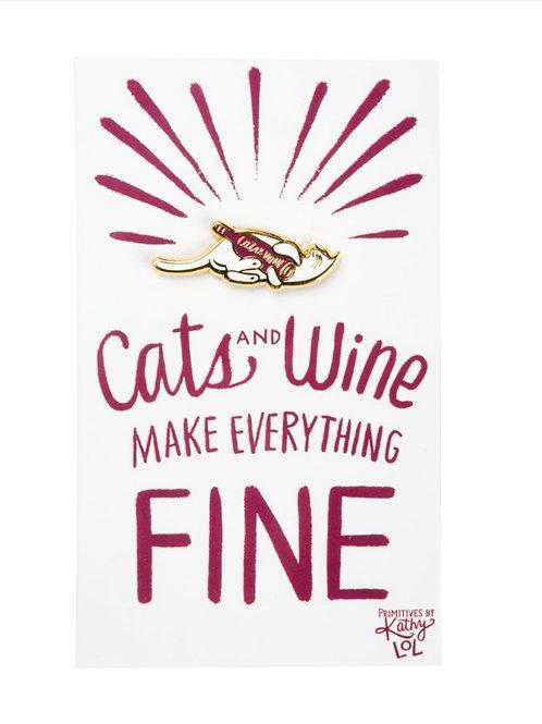 Cats & Wine Enamel Pin