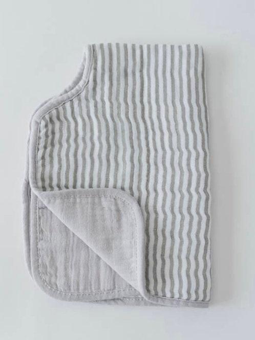 "Cotton Muslin Burp Cloth ""Grey Stripe"""