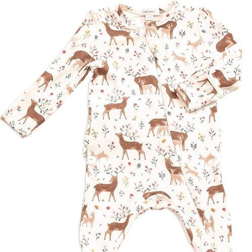 Little Deer Ruffle Back Zipper Footie
