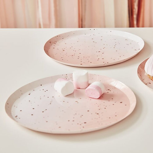 Pink Speckled Rose Gold Plates