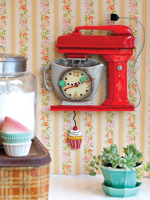 Vintage Red Mixer Pendulum Clock