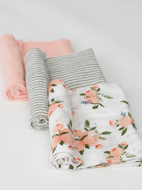 "Cotton Muslin Swaddle Blanket Set ""Watercolor Roses"""