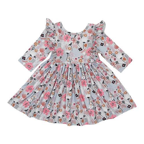 Sky PoppyRuffle Twirl Dress