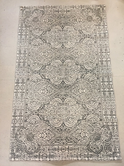 Grey and White Medallion Rug