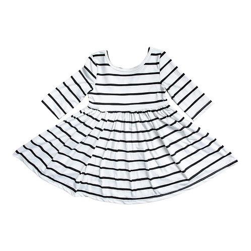White Stripe Twirl Dress