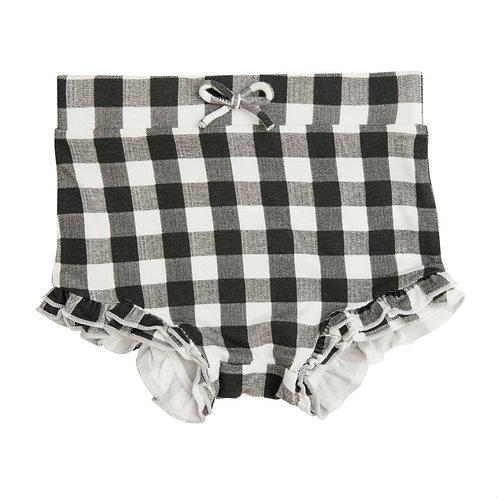 High Waist Shorts - Gingham Black