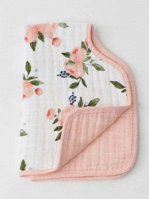 "Cotton Muslin Burp Cloth ""Watercolor Roses"""