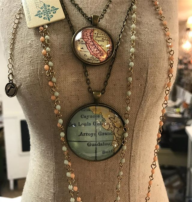 I love these map necklaces we carry in the store! They make for an adorable gift! Looking for a spec