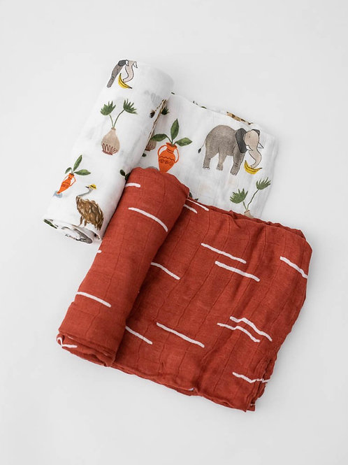 "Deluxe Muslin Swaddle Blanket Set ""Safari"""