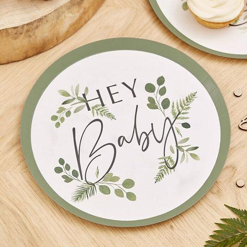 Botanical Hey Baby Shower Plates