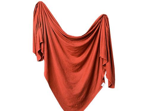 "Knit Swaddle Blanket ""Rust"""