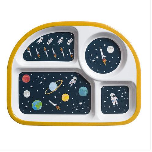 Space Children's Melamine Divider Plate