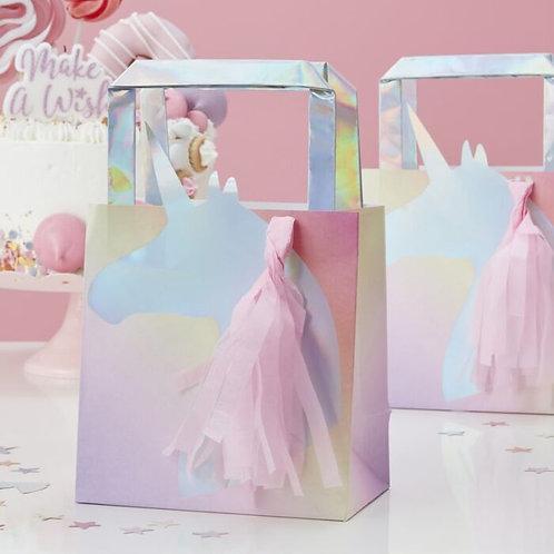 Iridescent Foil Unicorn Tassel Party Bag