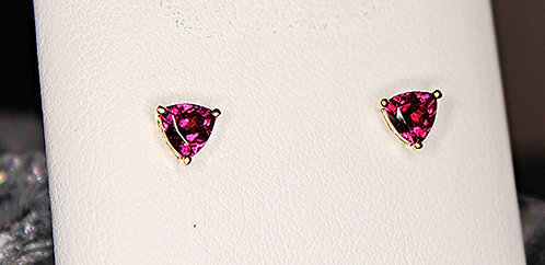 14 KT Gold Rhodolite Garnet Earrings