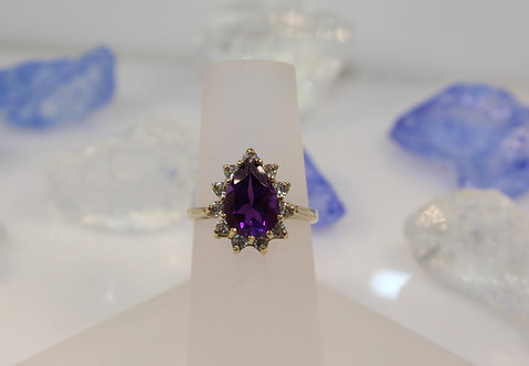 14KT Gold Amethyst Ring with Diamond Accents