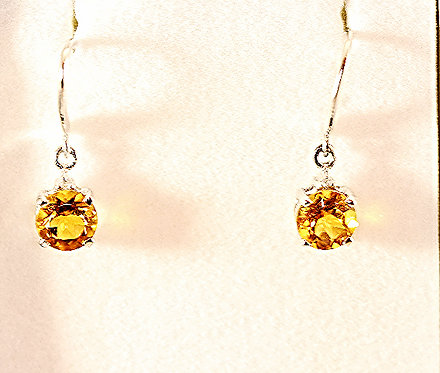 Citrine & Sterling Silver Round Earrings/Diamond