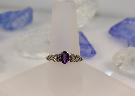 Sterling Silver Amethyst Heart Ring with Diamond Accents