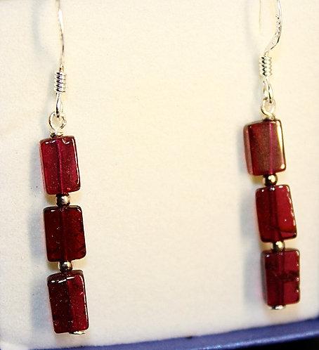 Sterling Silver & Raspberry Garnet Earrings