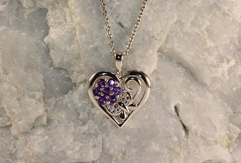 Sterling Silver Amethyst Heart Pendant with Diamond Accents