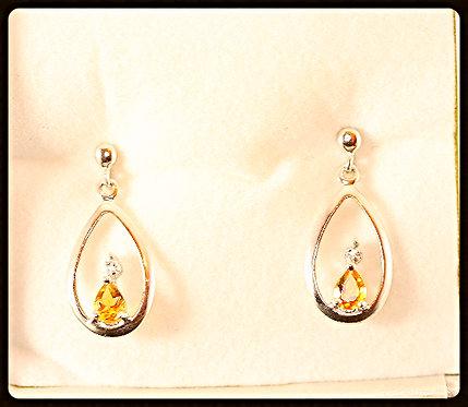 Citrine & Silver Pear In Pear Shape Earrings