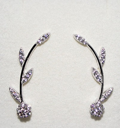 Sterling Silver & CZ Ear Climbers - Leaf Design
