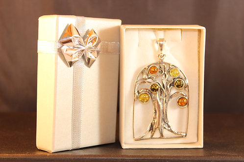 Amber & Silver Tree of Life Pendant