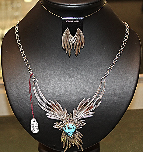 Necklace & Earring Set/Turquoise/Silver/Zuni Made