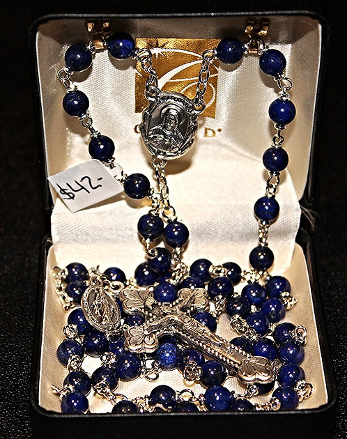 Genuine Lapis Rosary/Miraculous Medal-12 Star